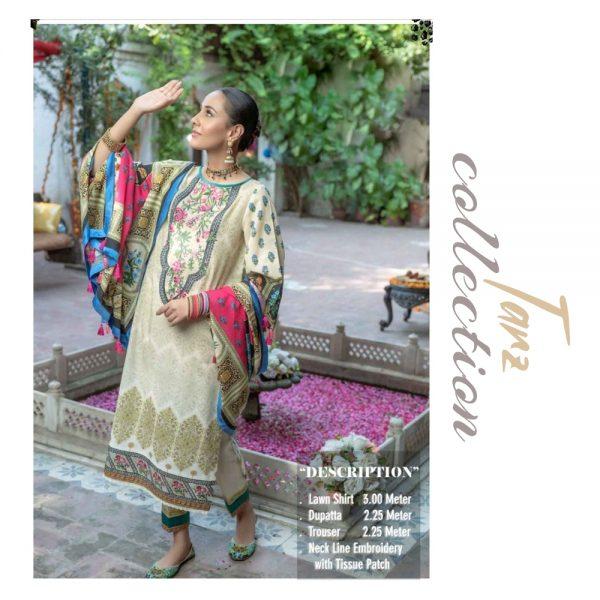 Women Summer Collection Unstitched 3-pc Multi Lawn Suit 03