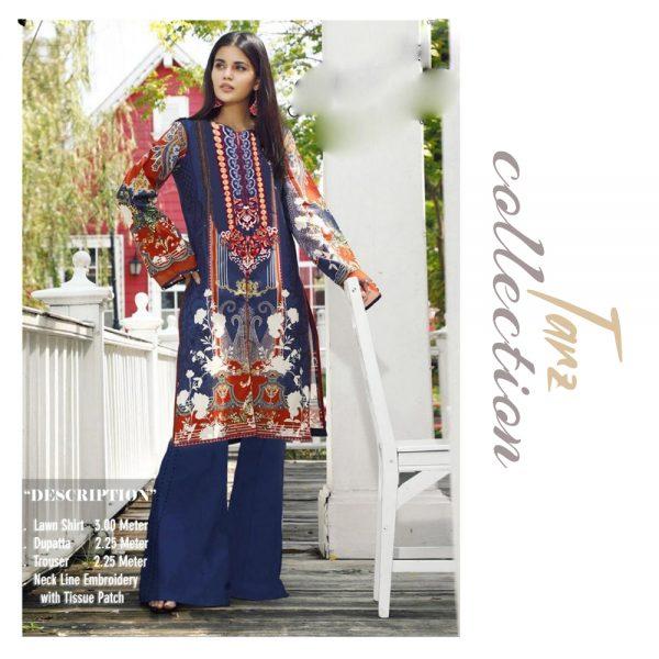 Women Summer Collection Unstitched 3-pc Multi Lawn Suit 05