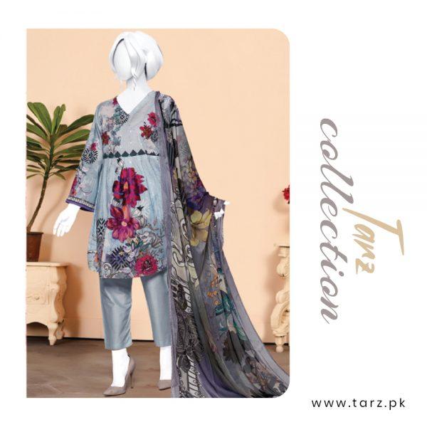 Digital Chikankari Lawn Shirt With Embroidery Patch Pure Chiffon Dupatta & Cambric Trouser