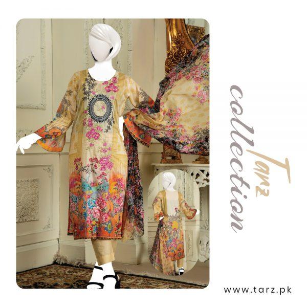 Branded Lawn shirt with Digital Embroidery & Chiffon Dupatta 3-pc
