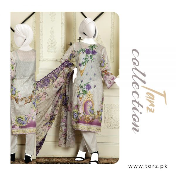 Branded Lawn shirt with Digital Embroidery & Chiffon Dupatta 3-pc 79