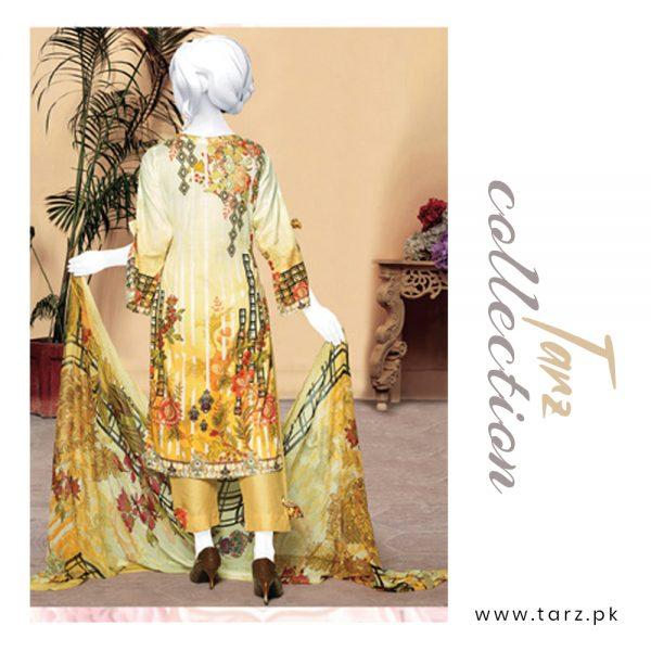 Digital Chikankari Lawn Shirt With Embroidery Patch Pure Chiffon Dupatta & Cambric Trouser 92