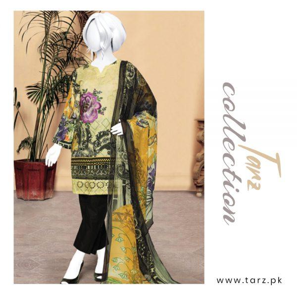 Digital Chikankari Lawn Shirt With Embroidery Patch Pure Chiffon Dupatta & Cambric Trouser 93