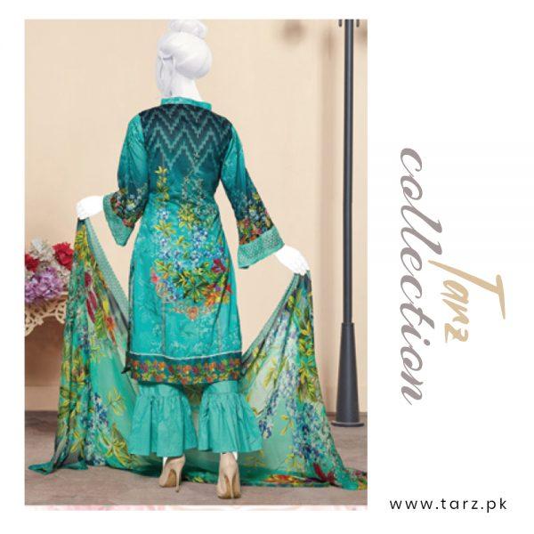 Digital Chikankari Lawn Shirt With Embroidery Patch Pure Chiffon Dupatta & Cambric Trouser 94