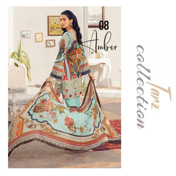 Women Luxury Lawn Unstitched 3-pc Suit Amber 08