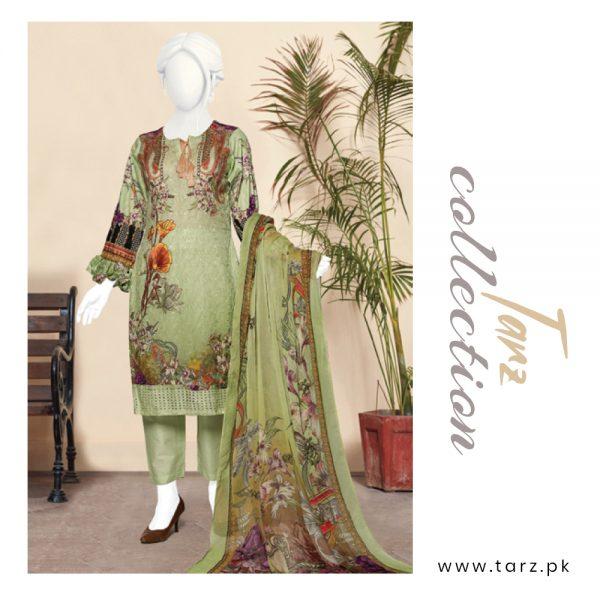 Digital Chikankari Lawn Shirt With Embroidery Patch Pure Chiffon Dupatta & Cambric Trouser 96
