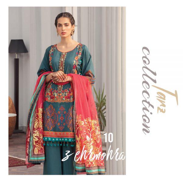 Women Luxury Lawn Unstitched 3-pc Suit Zeharmora 10