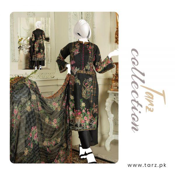 Branded Lawn shirt with Digital Embroidery & Chiffon Dupatta 3-pc 72