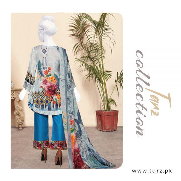 Digital Chikankari Lawn Shirt With Embroidery Patch Pure Chiffon Dupatta & Cambric Trouser 87