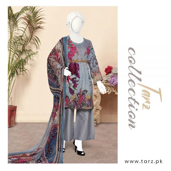Digital Chikankari Lawn Shirt With Embroidery Patch Pure Chiffon Dupatta & Cambric Trouser 88