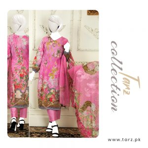 Branded Lawn shirt with Digital Embroidery & Chiffon Dupatta 3-pc 75