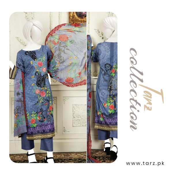 Branded Lawn shirt with Digital Embroidery & Chiffon Dupatta 3-pc 76
