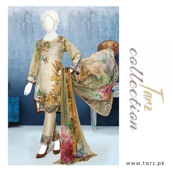 Digital Chikankari Lawn Shirt With Embroidery Patch Pure Chiffon Dupatta & Cambric Trouser 89