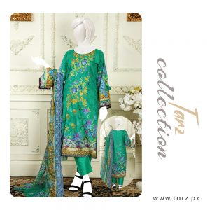 Branded Lawn shirt with Digital Embroidery & Chiffon Dupatta 3-pc 77