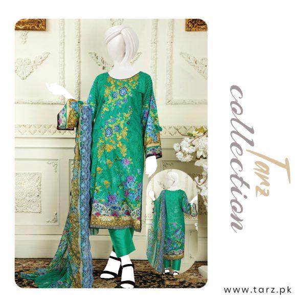 Branded Lawn shirt with Digital Embroidery & Chiffon Dupatta 3-pc 77
