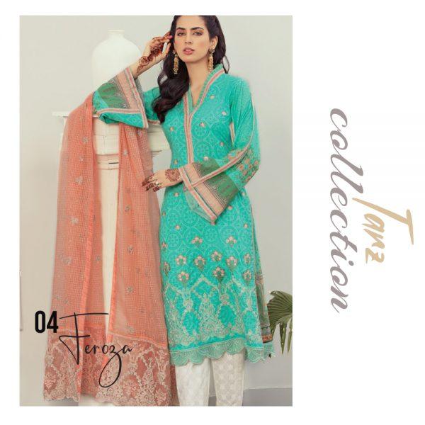 Women Luxury Lawn Unstitched 3-pc Suit Feroza 04