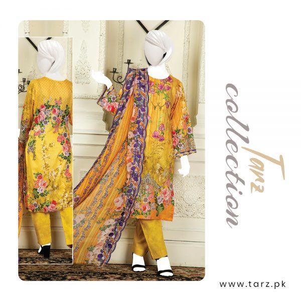 Branded Lawn shirt with Digital Embroidery & Chiffon Dupatta 3-pc 78