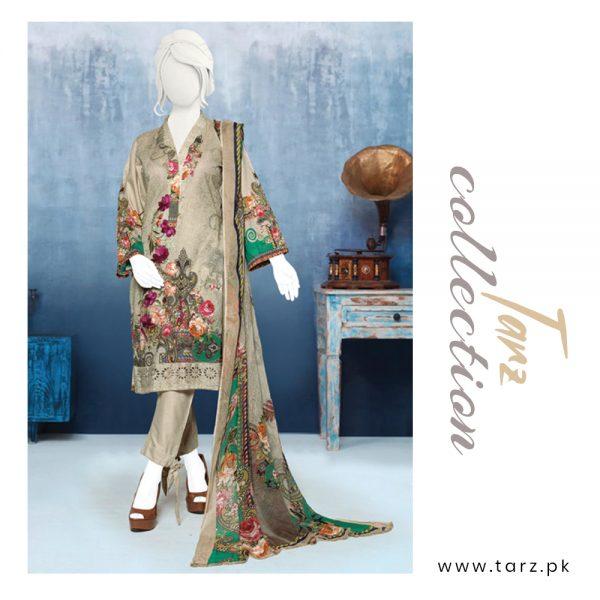 Digital Chikankari Lawn Shirt With Embroidery Patch Pure Chiffon Dupatta & Cambric Trouser 91