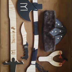 Ertugrul Sword,Cap & Turgut Axe & Bow,Dagger Set of 5